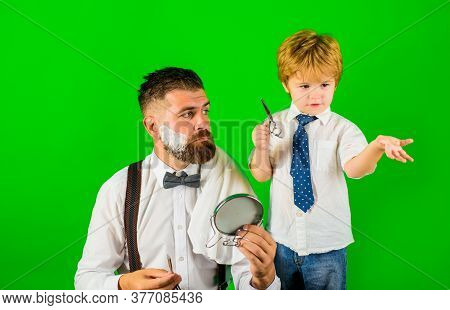 Little Barber. Son And Dad Shaving Beard. Assistant For Dad. Barbershop Concept. Fathers Day. Family