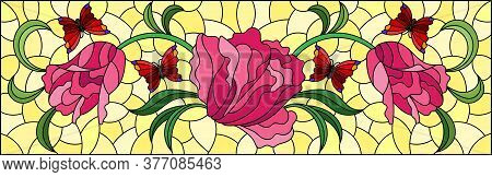 Illustration In A Stained Glass Style With A Flower Arrangement Of Pink Tulips And Butterflies On A