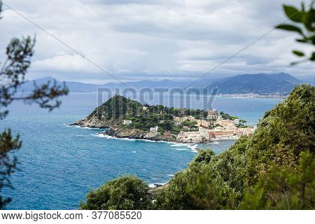 Beautiful Aerial View On Sestri Levante Silent Bay Or Baia Del Silenzio. Liguria, Italy