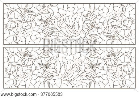 Set Of Contour Illustrations Of Stained Glass Windows With Intertwined Tulips, Dark Outlines On A Wh