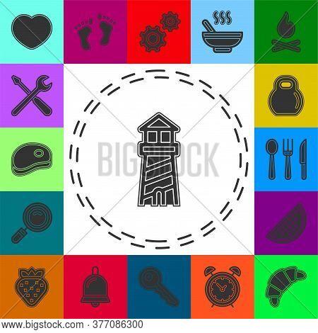 Navigation Sea Tower Icon - Vector Lighthouse - Ocean Navigation Symbol - Sea House. Flat Pictogram