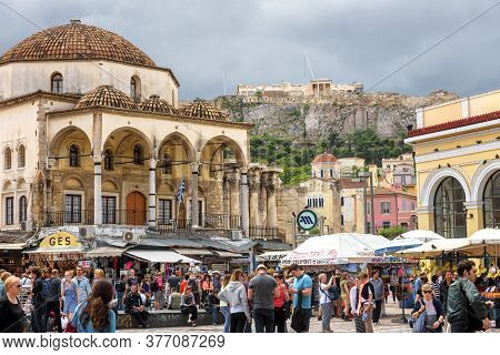Athens - May 7, 2018: Monastiraki Square With Old Mosque And View Of Acropolis In Athens, Greece. Pe