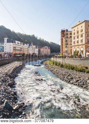 Sochi, Russia - October 13, 2018. Panorama View Of Mzymta River Embankment In Rosa Dolina. Famous Ro