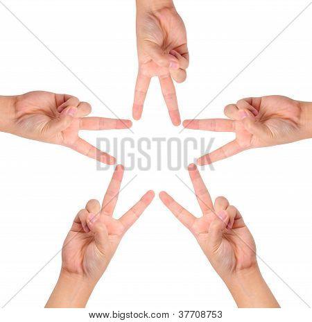 Hands Create Star Shape