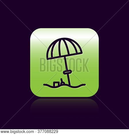 Black Line Sun Protective Umbrella For Beach Icon Isolated On Black Background. Large Parasol For Ou