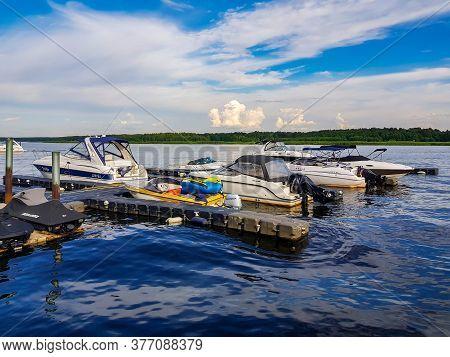 Latvia, Jurmala, July, 2020 - Small Marina On The Lielupe River In Jurmala, Latvia