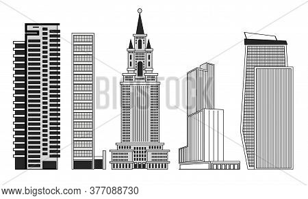 Set Of Large Buildings Skyscrapers For The Image Of The Metropolis.
