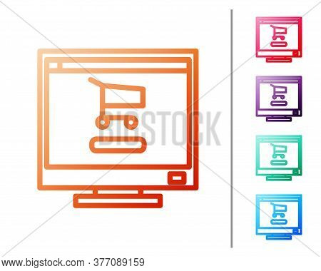 Red Line Shopping Cart On Screen Computer Icon Isolated On White Background. Concept E-commerce, E-b