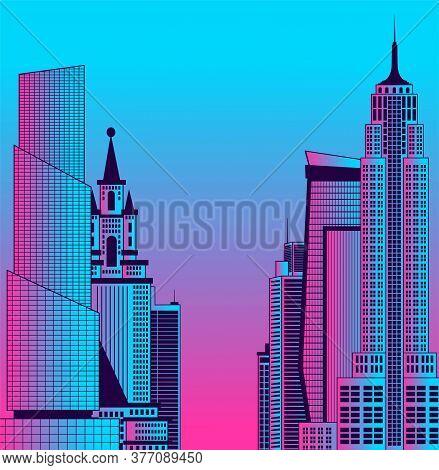 Image Of A Metropolis In Neon Colors. City Landscape.