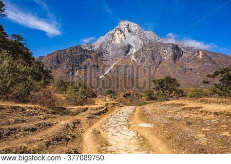 Khumbu Yul Lha Mountain. Way To Kumjung. Himalayas, Nepal