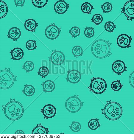 Black Line Consumer Or Customer Product Rating Icon Isolated Seamless Pattern On Green Background. V