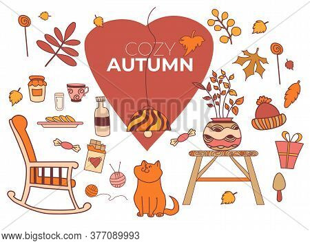 Cozy Autumn. Set Of Colored Vector Autumn Drawings. Cute Ginger Cat, Colorful Leaves, Mushrooms, Can