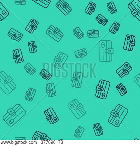Black Line Credit Card With Lock Icon Isolated Seamless Pattern On Green Background. Locked Bank Car