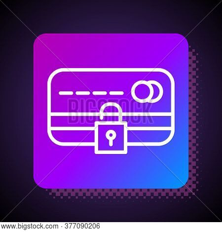White Line Credit Card With Lock Icon Isolated On Black Background. Locked Bank Card. Security, Safe