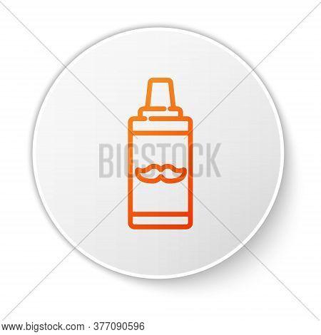 Orange Line Shaving Gel Foam Icon Isolated On White Background. Shaving Cream. White Circle Button.