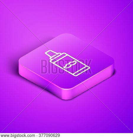 Isometric Line Shaving Gel Foam Icon Isolated On Purple Background. Shaving Cream. Purple Square But