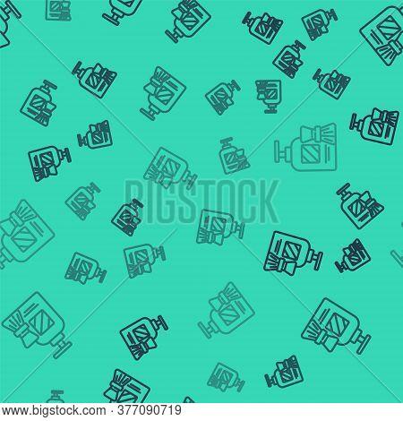 Black Line Shaving Gel Foam And Brush Icon Isolated Seamless Pattern On Green Background. Shaving Cr