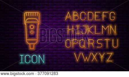 Glowing Neon Line Electrical Hair Clipper Or Shaver Icon Isolated On Brick Wall Background. Barbersh