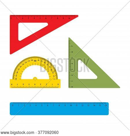 School Tools, Rulers Vector Set. Instrument Line For Measuring And Instrumental Ruler Of Centimeter