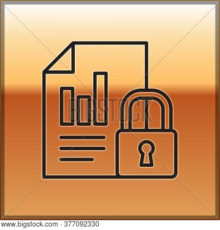 Black Line Document And Lock Icon Isolated On Gold Background. File Format And Padlock. Security, Sa