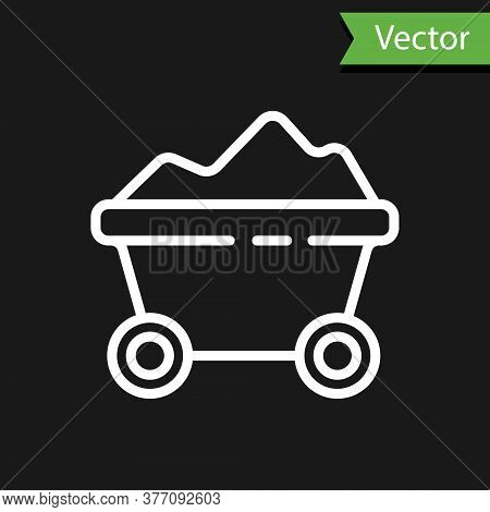 White Line Coal Mine Trolley Icon Isolated On Black Background. Factory Coal Mine Trolley. Vector Il