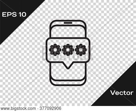 Black Line Mobile And Password Protection Icon Isolated On Transparent Background. Security, Safety,