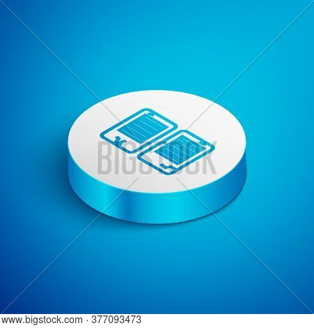 Isometric Line The Commandments Icon Isolated On Blue Background. Gods Law Concept. White Circle But