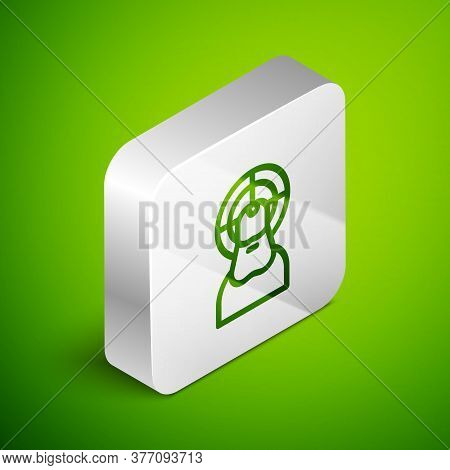 Isometric Line Jesus Christ Icon Isolated On Green Background. Silver Square Button. Vector Illustra
