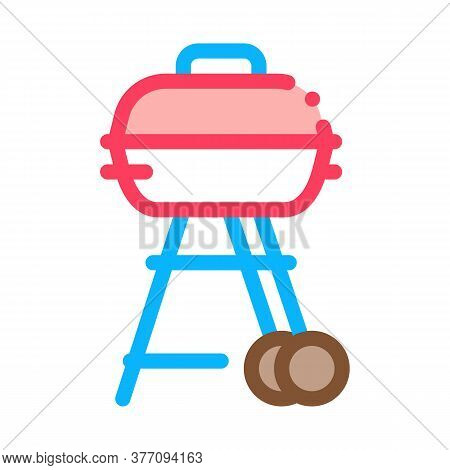 Bbq Cook Tool Icon Vector. Bbq Cook Tool Sign. Color Symbol Illustration