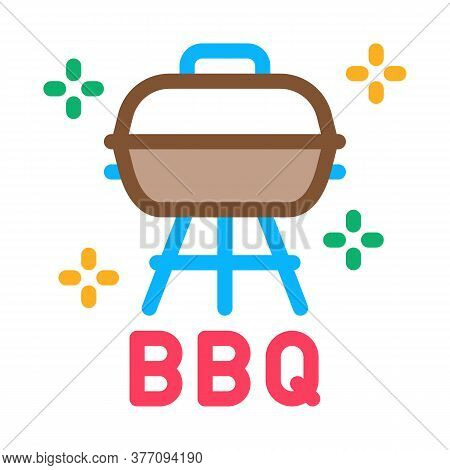 Bbq Equipment Icon Vector. Bbq Equipment Sign. Color Symbol Illustration