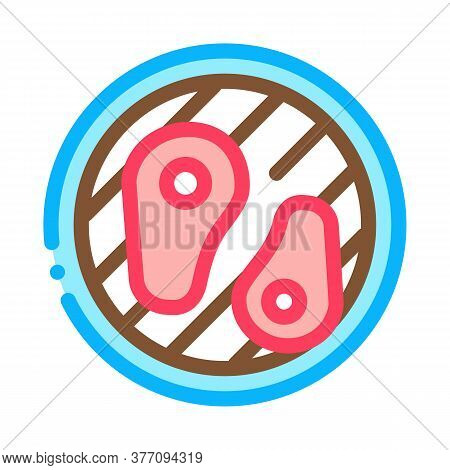 Frying Meat On Bbq Icon Vector. Frying Meat On Bbq Sign. Color Symbol Illustration