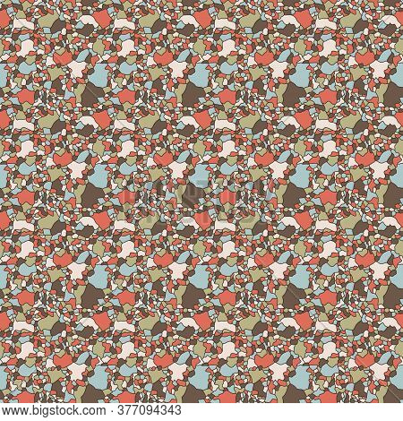Seamless Abstract Pattern With Multicolor Muted Mosaic Shapes, Hand Drawing Vector