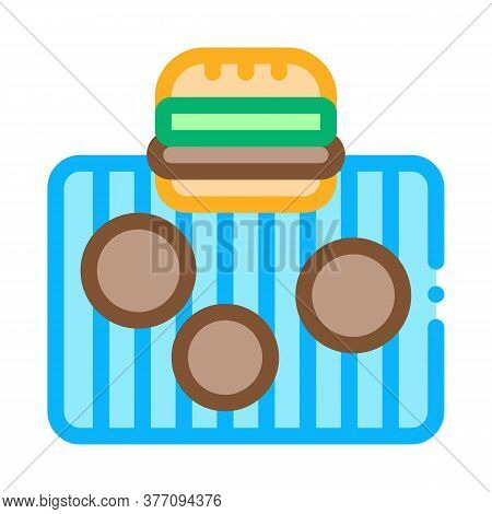 Bbq Meat For Burger Icon Vector. Bbq Meat For Burger Sign. Color Symbol Illustration