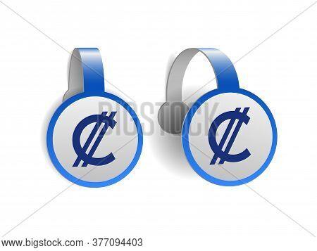 Costa Rican And Salvadoran Colon Symbol On Blue Advertising Wobblers.