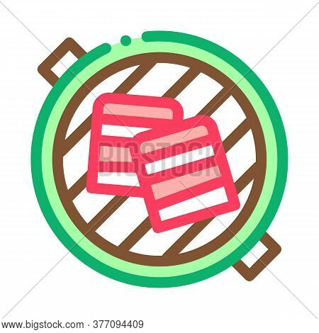 Cooking Bbq Bacon Icon Vector. Cooking Bbq Bacon Sign. Color Symbol Illustration