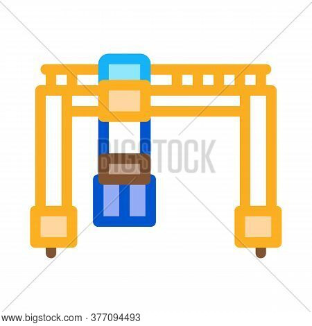 Crane Terminal With Container Icon Vector. Crane Terminal With Container Sign. Color Symbol Illustra