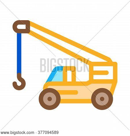 Machinery Crane Icon Vector. Machinery Crane Sign. Color Symbol Illustration