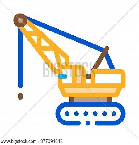 Crane Transport Icon Vector. Crane Transport Sign. Color Symbol Illustration