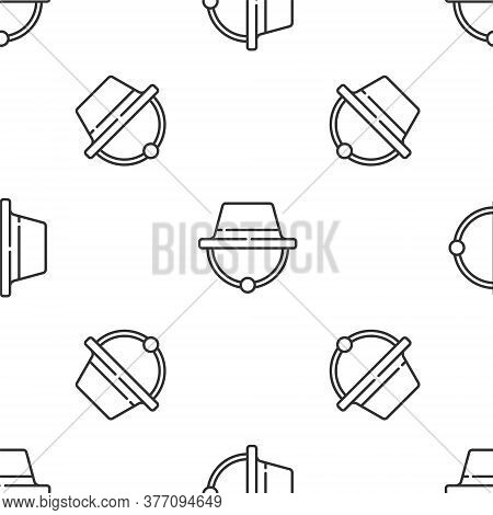 Grey Line Camping Hat Icon Isolated Seamless Pattern On White Background. Beach Hat Panama. Explorer