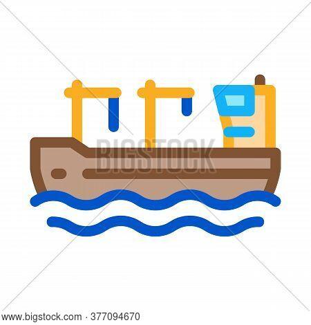Crane On Boat Icon Vector. Crane On Boat Sign. Color Symbol Illustration