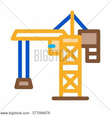 Crane For Building Icon Vector. Crane For Building Sign. Color Symbol Illustration