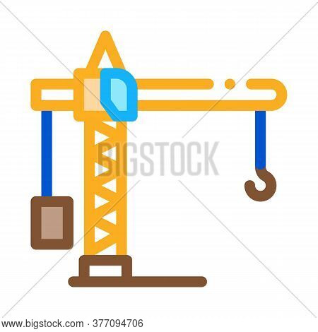 Crane Construction Icon Vector. Crane Construction Sign. Color Symbol Illustration