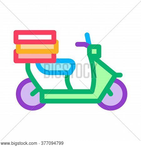 Food Delivery Motorcycle Icon Vector. Food Delivery Motorcycle Sign. Color Symbol Illustration