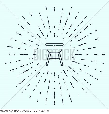 Black Line Barbecue Grill Icon Isolated On Grey Background. Bbq Grill Party. Abstract Circle Random