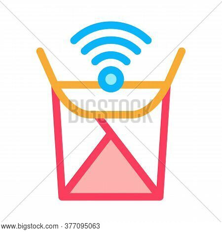 Food Box Wifi Mark Icon Vector. Food Box Wifi Mark Sign. Color Symbol Illustration