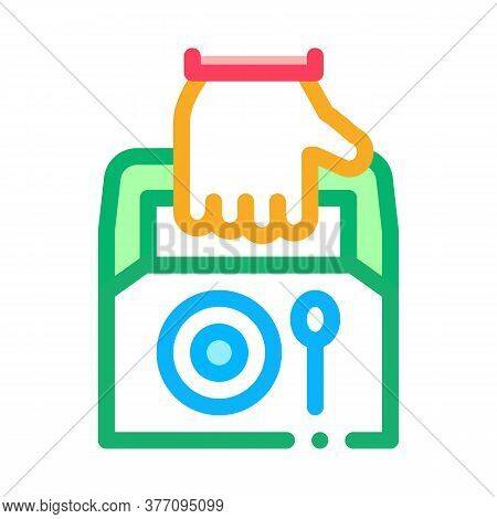 Food Container Delivery Icon Vector. Food Container Delivery Sign. Color Symbol Illustration
