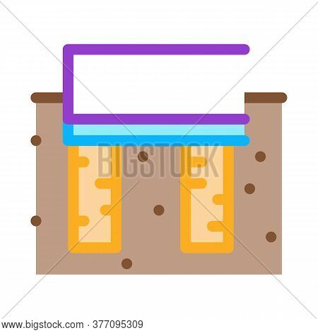 Wooden Foundation Icon Vector. Wooden Foundation Sign. Color Symbol Illustration