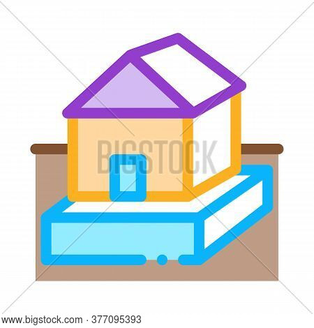 House On Foundation Icon Vector. House On Foundation Sign. Color Symbol Illustration