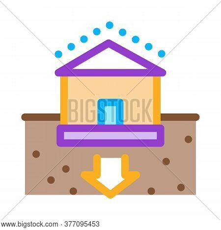 House Foundation Sags Icon Vector. House Foundation Sags Sign. Color Symbol Illustration