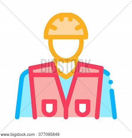 Builder Profession Icon Vector. Builder Profession Sign. Color Symbol Illustration
